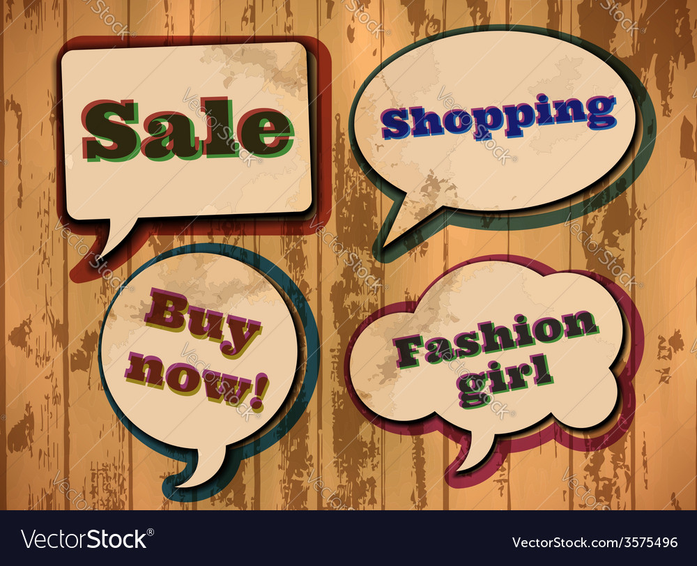Vintage shopping themed speech bubbles vector   Price: 1 Credit (USD $1)