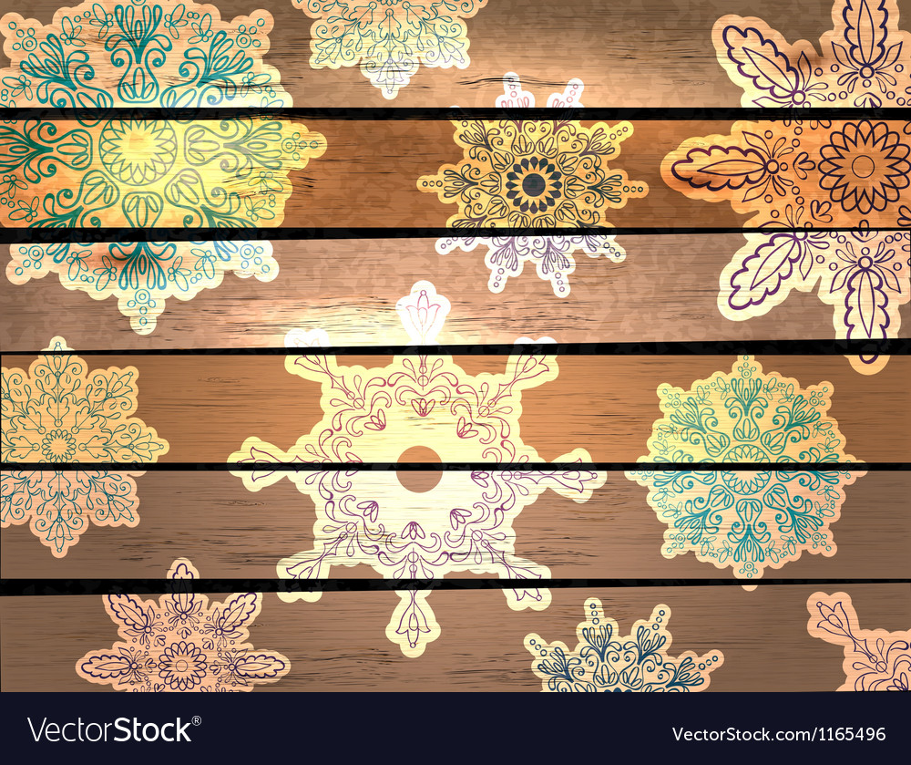 Wood background with beautiful snowflakes vector | Price: 1 Credit (USD $1)
