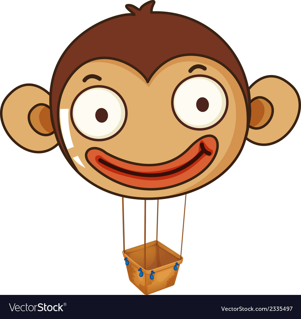 A monkey balloon with an empty basket vector | Price: 1 Credit (USD $1)