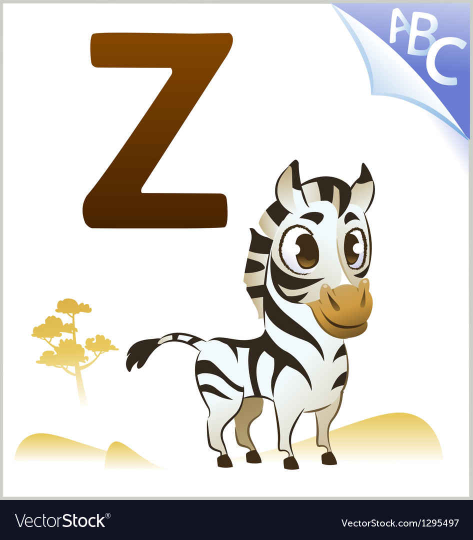 Animal alphabet for the kids z for the zebra vector | Price: 1 Credit (USD $1)
