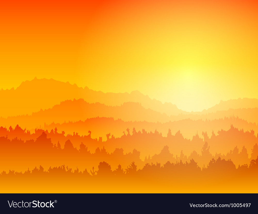 Mountain sunset vector | Price: 1 Credit (USD $1)