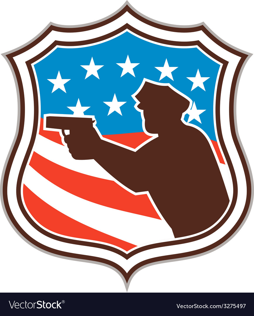 Policeman silhouette pointing gun flag shield vector | Price: 1 Credit (USD $1)