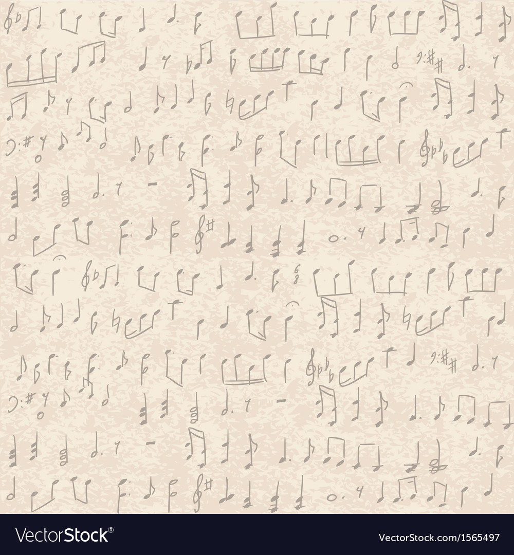 Seamless old paper texture with music notes vector | Price: 1 Credit (USD $1)