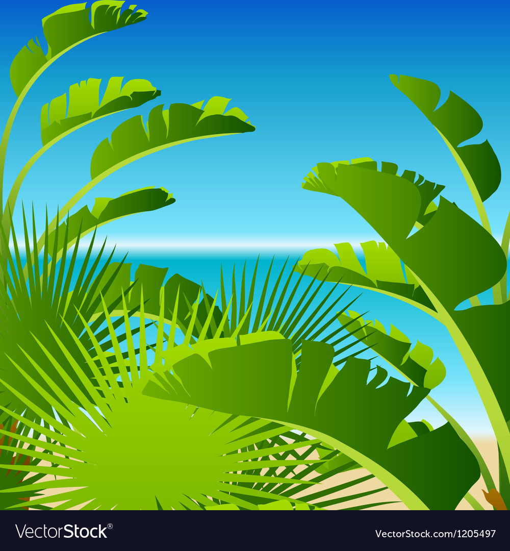 Tropical palm on sea background vector | Price: 1 Credit (USD $1)