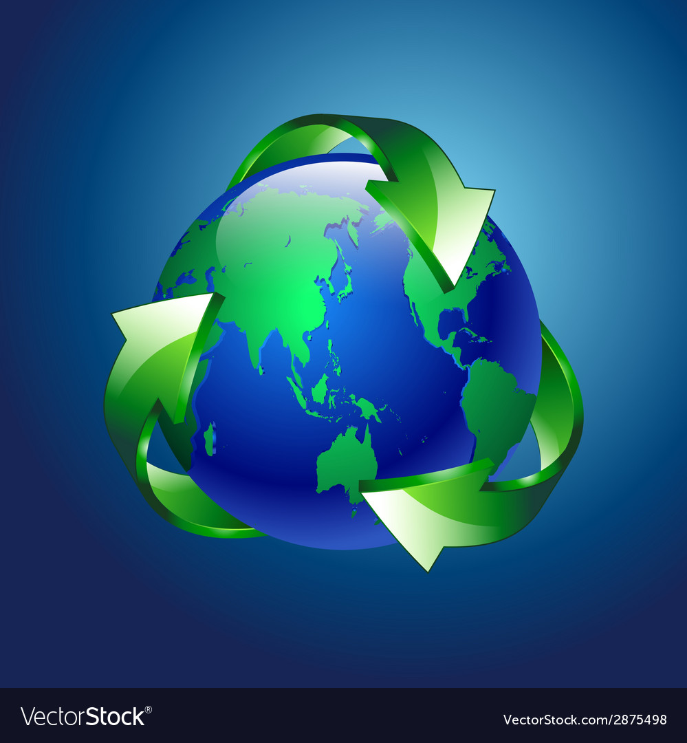 A clean green blue planet recycle vector | Price: 1 Credit (USD $1)