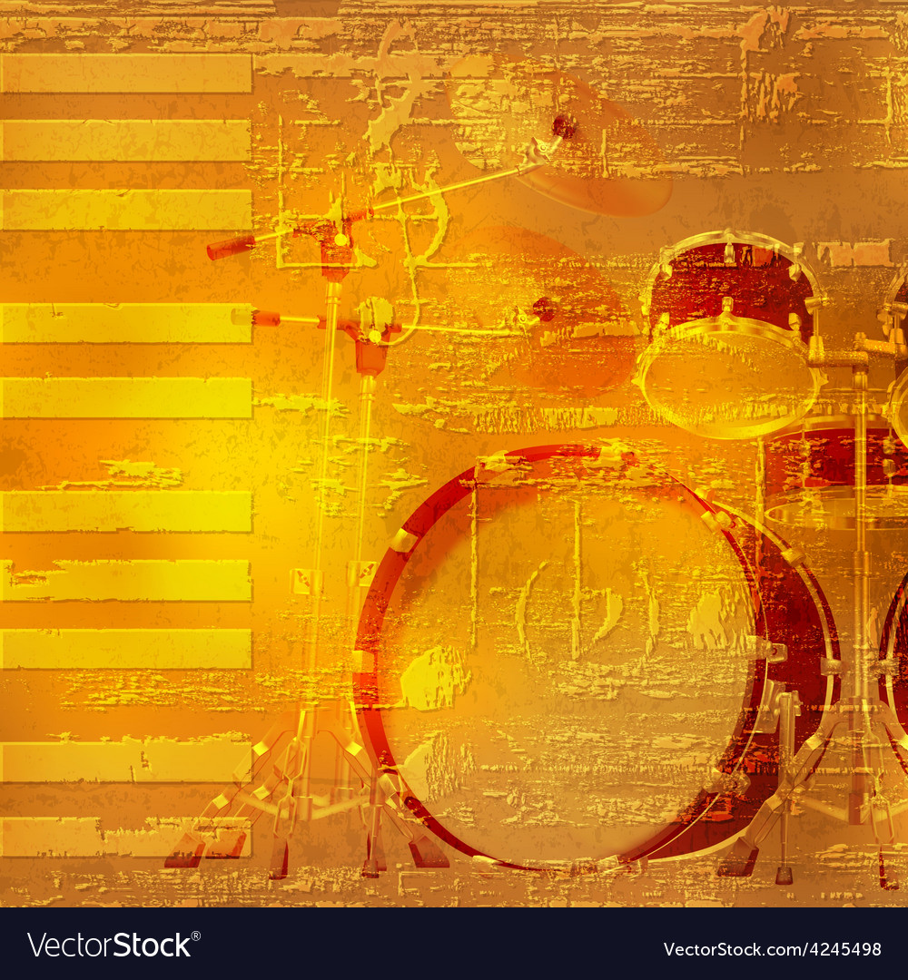 Abstract yellow grunge piano background with drum vector | Price: 3 Credit (USD $3)