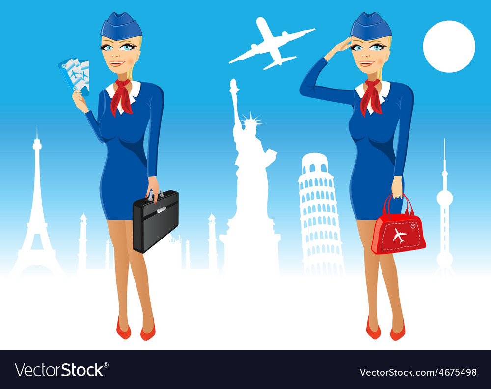 Attractive stewardess holding briefcase vector | Price: 1 Credit (USD $1)