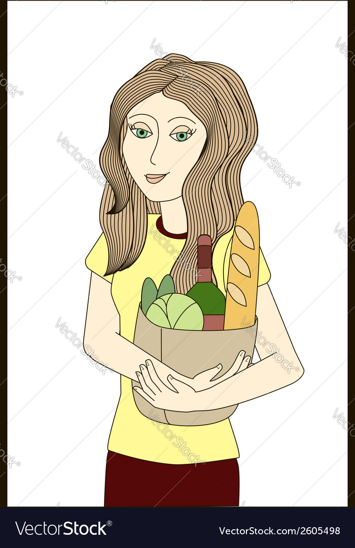 Blonde woman holding paper bag with foodstuffs vector | Price: 1 Credit (USD $1)