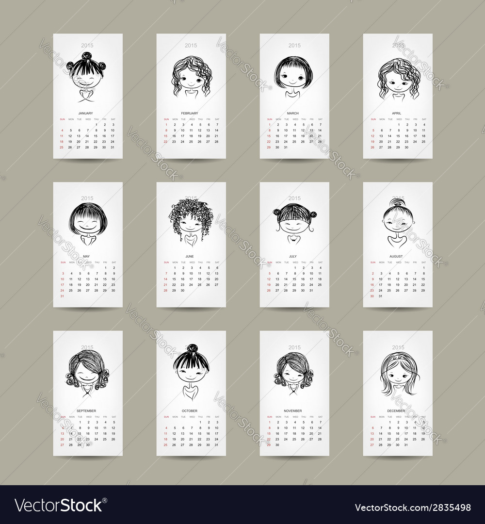 Calendar grid 2015 cute girls design vector | Price: 1 Credit (USD $1)