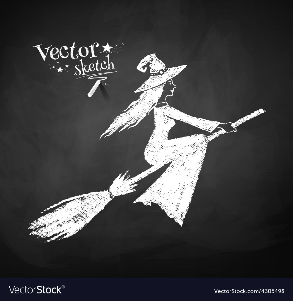 Chalkboard drawing of witch vector | Price: 1 Credit (USD $1)