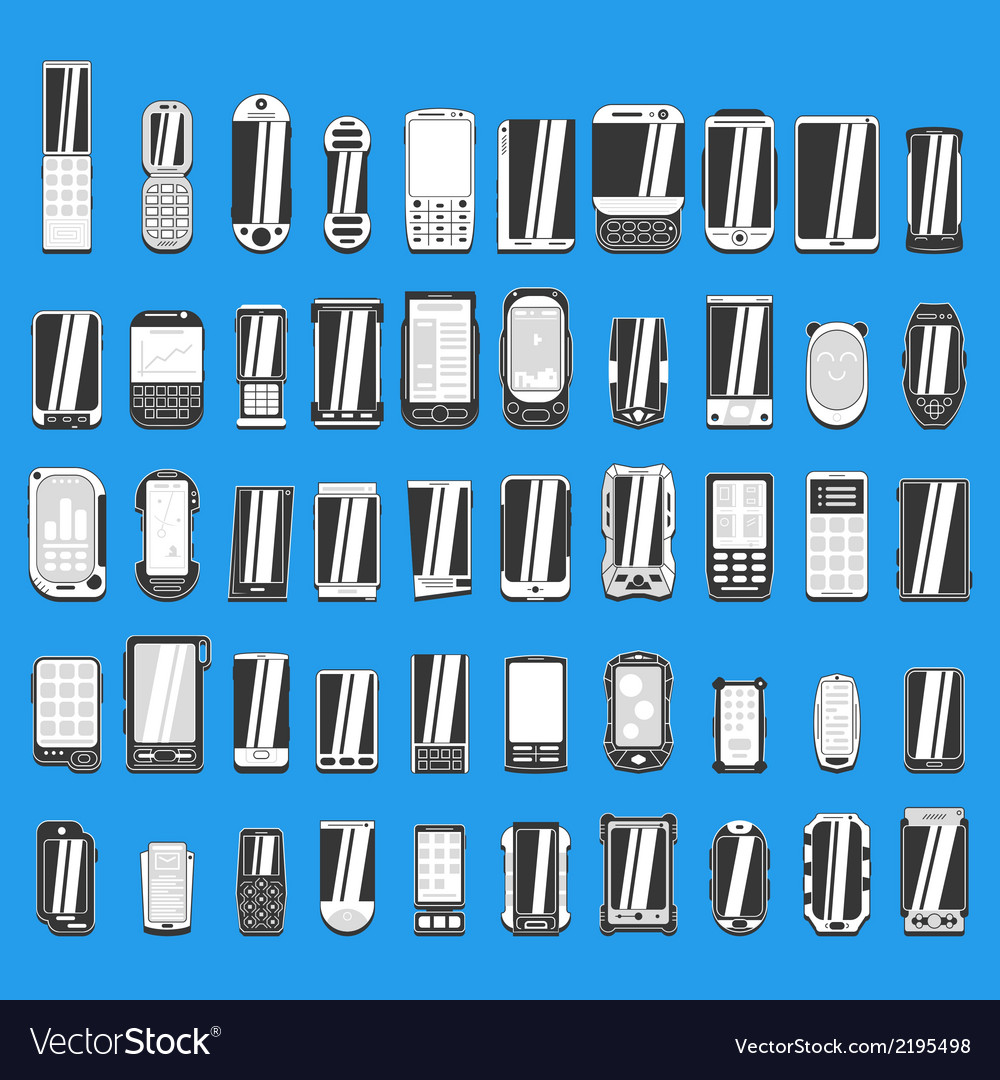 Large set of different abstract mobile phones part vector | Price: 1 Credit (USD $1)