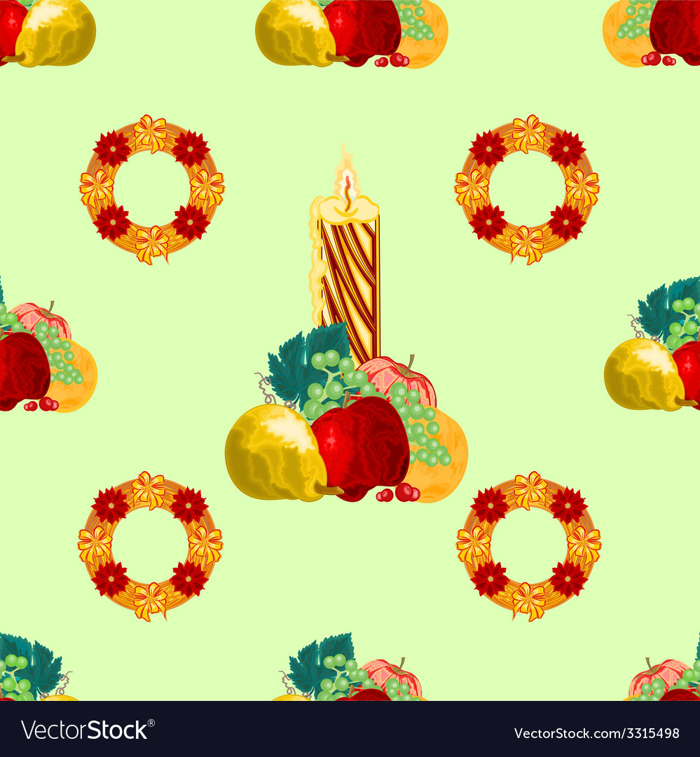 Seamless texture christmas candle with fruit vector | Price: 1 Credit (USD $1)