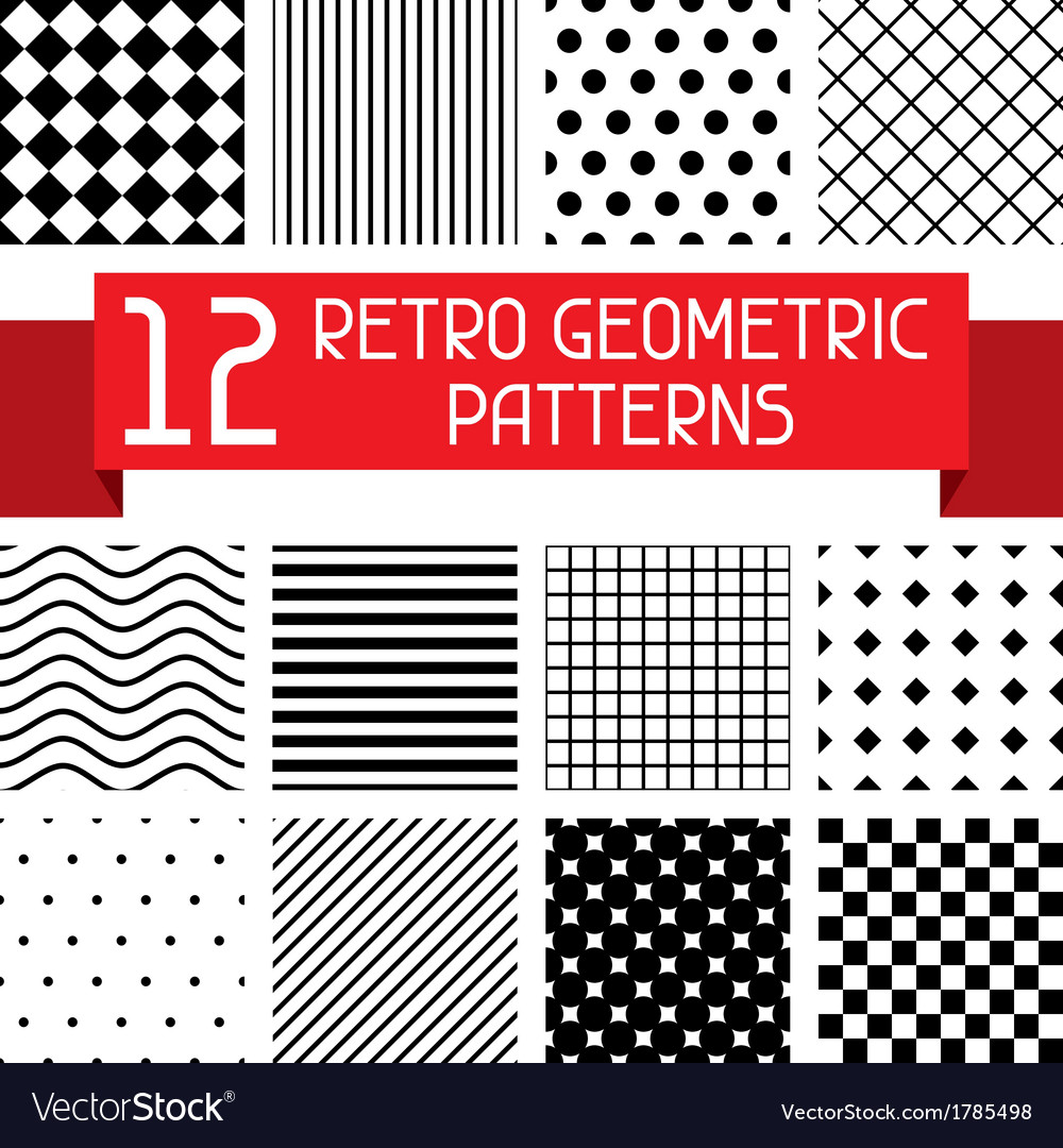 Set of 12 retro geometric patterns vector | Price: 1 Credit (USD $1)