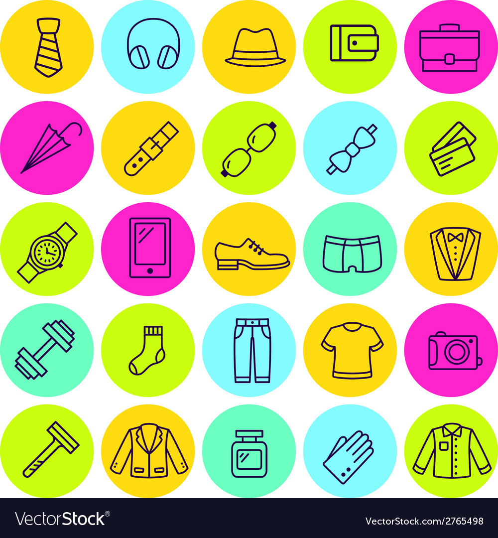 Set of icons mens clothing and accessories vector | Price: 1 Credit (USD $1)