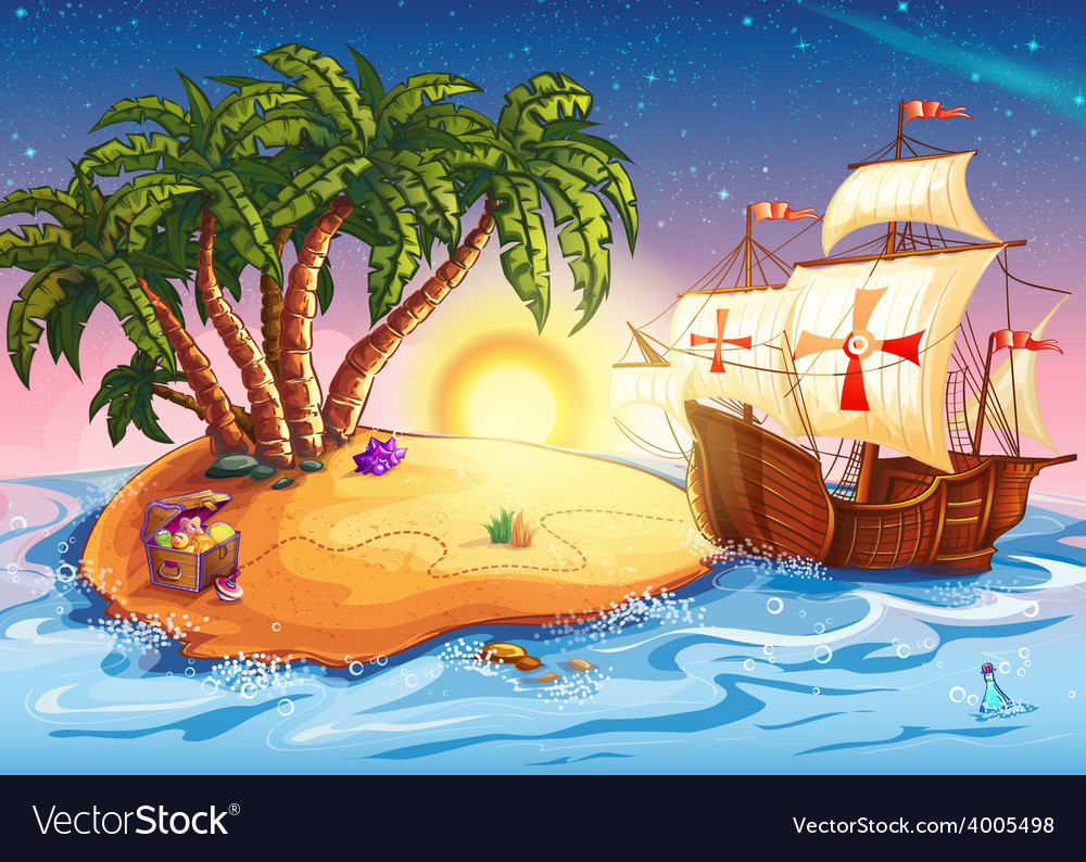 Treasure island with the ship vector | Price: 5 Credit (USD $5)