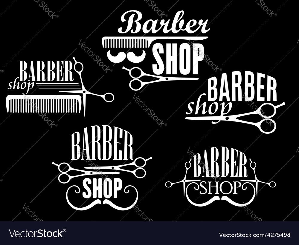 Vintage barber shop emblems on black background vector | Price: 1 Credit (USD $1)