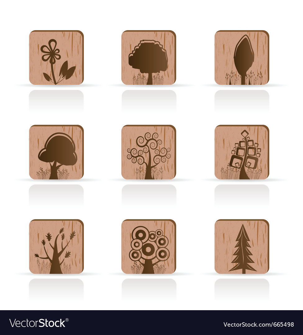 Wooden tree collection icons vector | Price: 1 Credit (USD $1)
