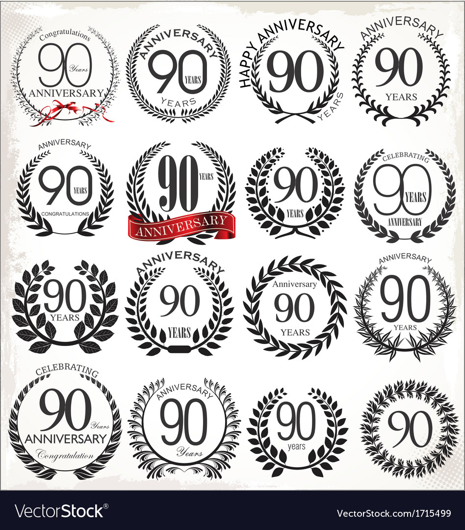90 years anniversary laurel wreaths vector | Price: 1 Credit (USD $1)