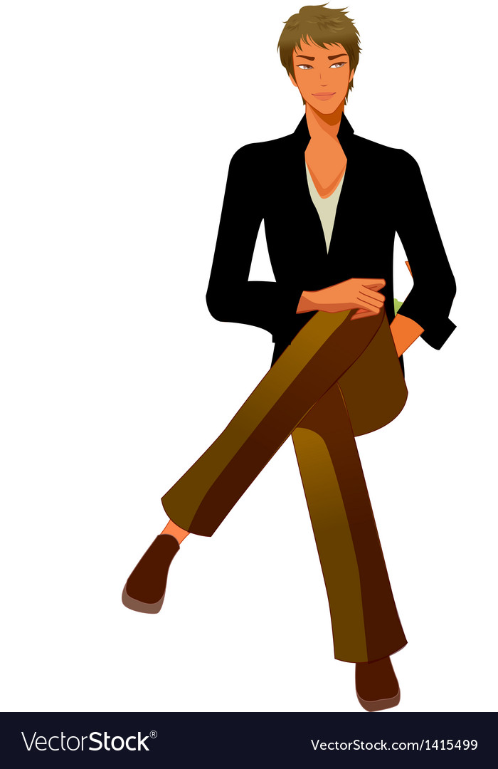 Close-up of man sitting vector | Price: 3 Credit (USD $3)