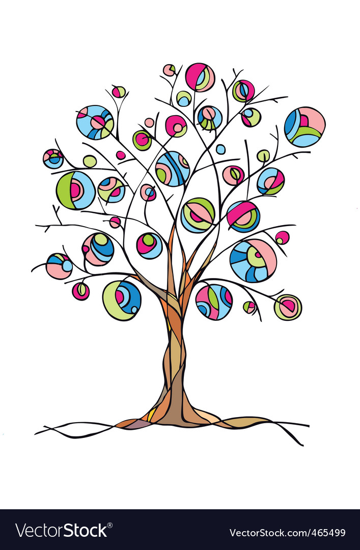 Decorative art tree with fruit vector | Price: 1 Credit (USD $1)