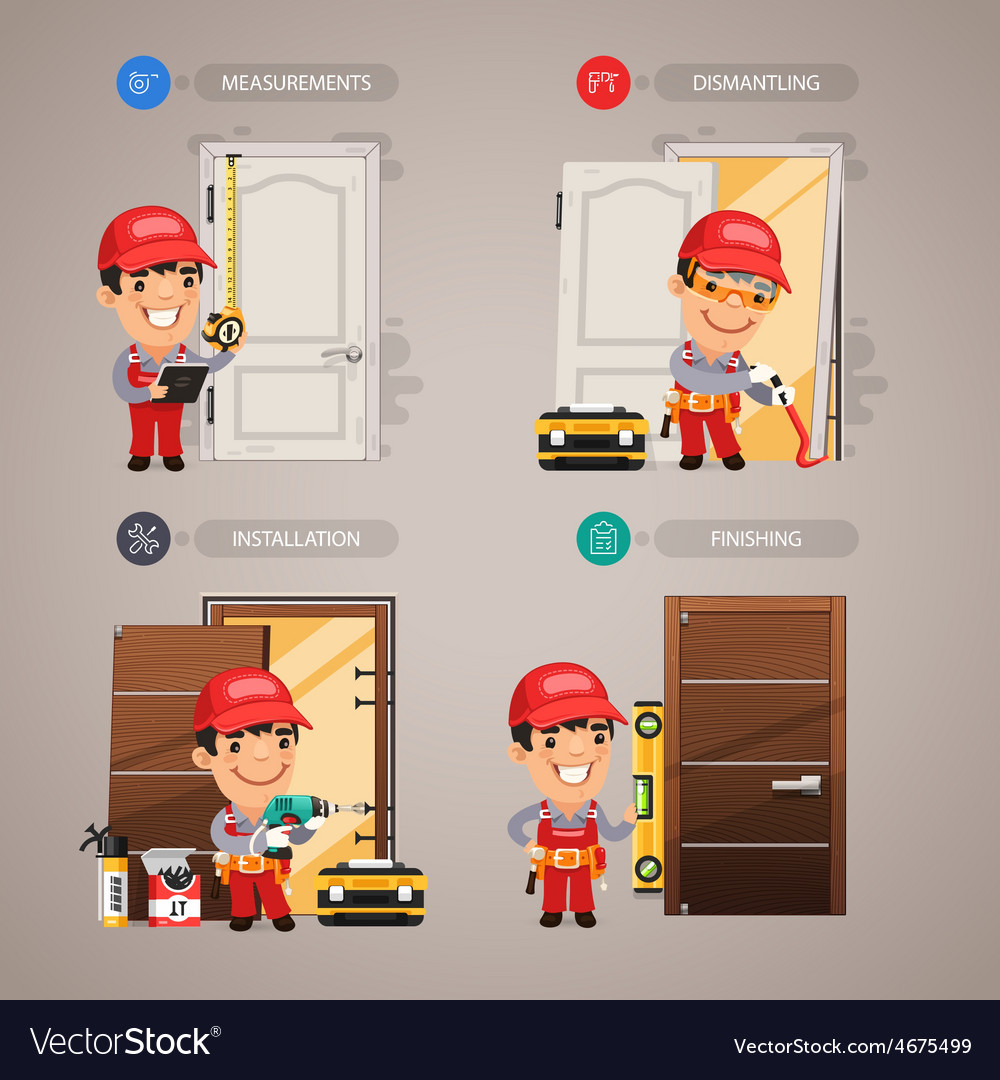 Door installation step by step with handyman vector | Price: 3 Credit (USD $3)