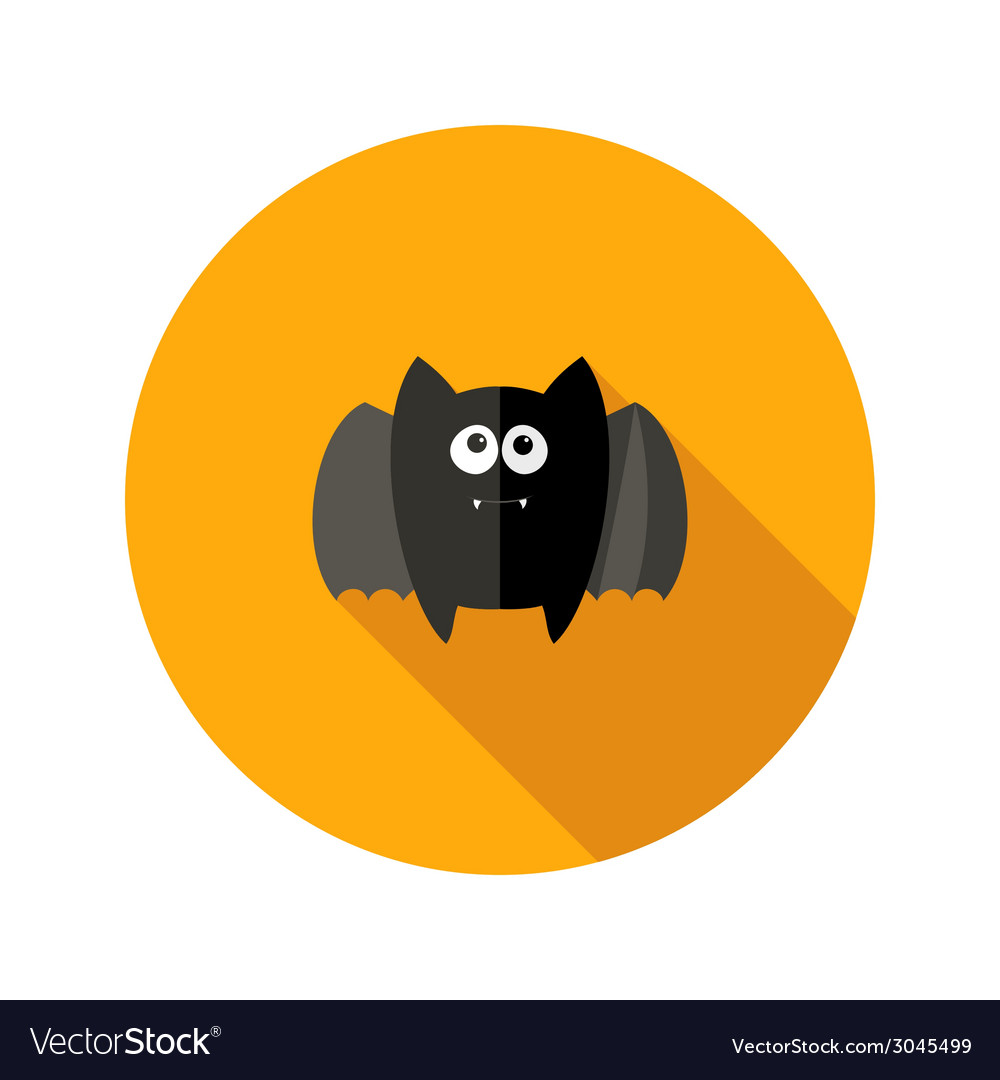 Halloween bat flat icon with fangs vector | Price: 1 Credit (USD $1)