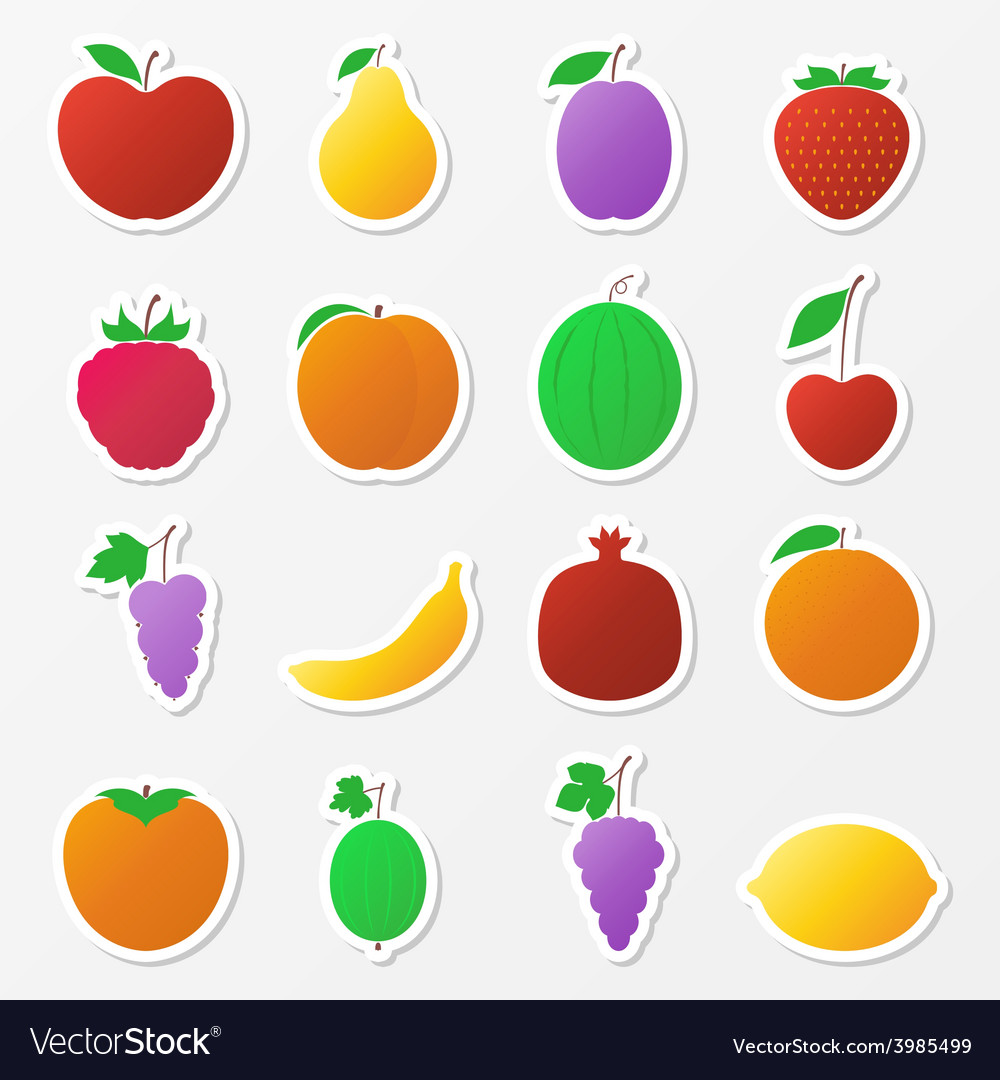 Set of fruit stickers vector | Price: 1 Credit (USD $1)