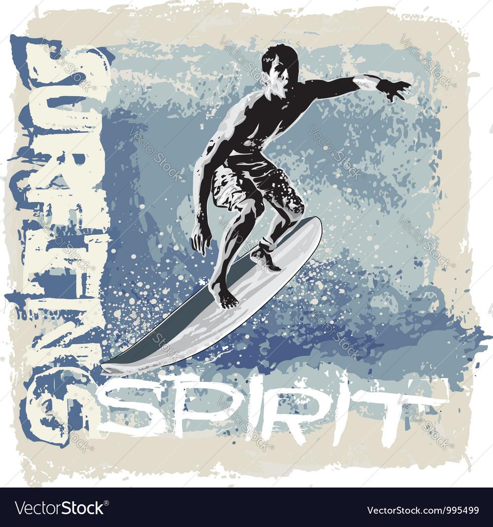 Surfing spirit vector | Price: 1 Credit (USD $1)