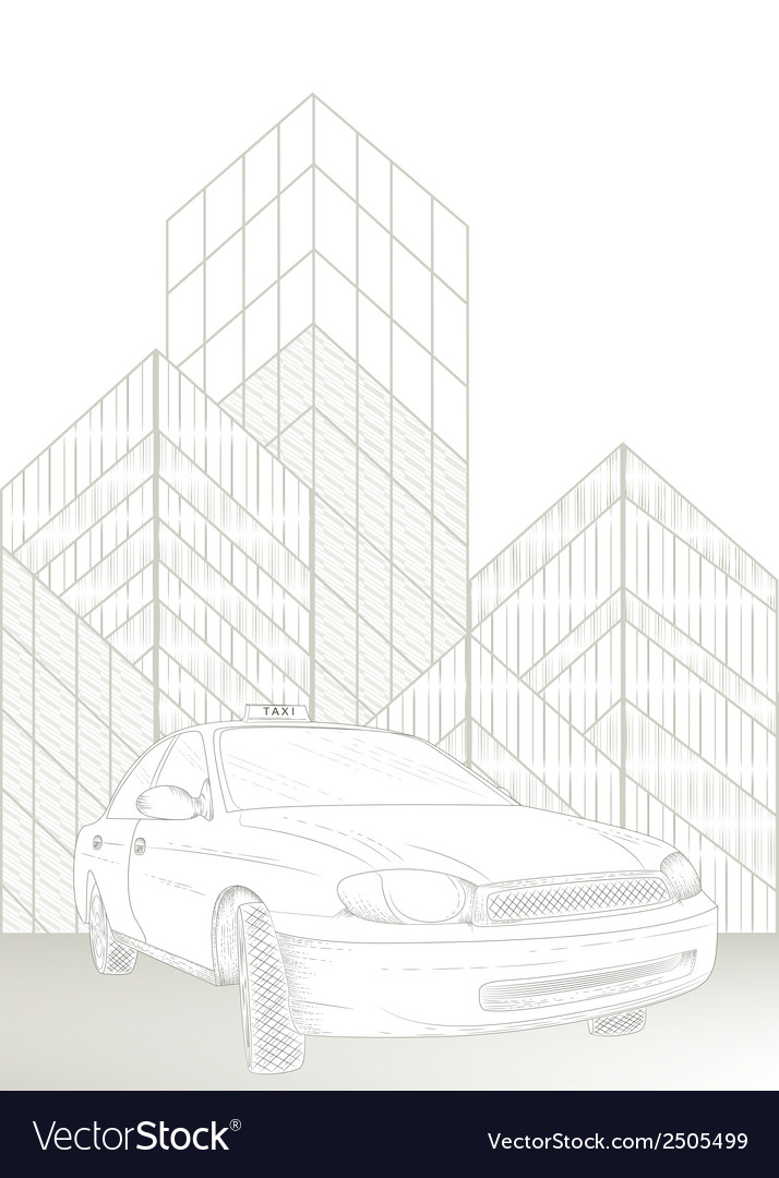 Taxi and city vector | Price: 1 Credit (USD $1)