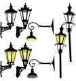 Retro street lamp and lantern vector
