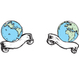 Two earth icons vector