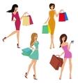 Shopping girl figures vector