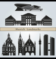 Munich landmarks and monuments vector
