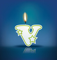Candle letter v with flame vector
