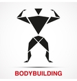 Workout logo with bodybuilder triangle man vector