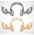 Hand drawn concept  headphones with wings vector