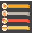 Flat icon set fast food with vintage ribbons vector