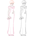 Fashion girl in long evening dress vector