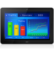 Web site analytics on tablet pc screen vector
