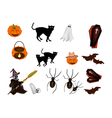 An set of various halloween item vector
