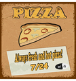 Vintage postcard with the slice of pizza eps10 vector