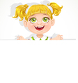 Cute little girl holding a big blank banner vector