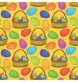 Seamless basket with easter eggs vector