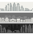 Cityscape seamless horizontal banners with vector