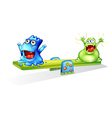 Happy monsters playing vector