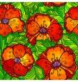 Ornate poppy flowers seamless pattern vector