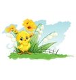 Cute chicken on a background of yellow flowers and vector
