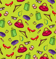Pattern of womens accessories and shopping vector