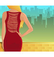 Young woman in red dress from back vector