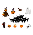 Set of various halloween item and monster vector